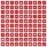 100 behandla som ett barn symboler ställde in grunge röd Royaltyfri Fotografi
