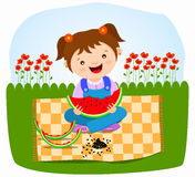 behandla som ett barn äta flickavattenmelonen Royaltyfria Foton
