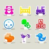 Behandla som ett barn tecknet för logoen för uppsättningen för färgsymbolsleksaken Royaltyfria Foton