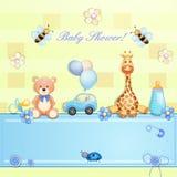behandla som ett barn text för duschen för bakgrundskaninkortet gullig blom- Royaltyfri Bild