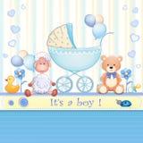 behandla som ett barn text för duschen för bakgrundskaninkortet gullig blom- Royaltyfria Bilder