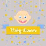 behandla som ett barn text för duschen för bakgrundskaninkortet gullig blom- Royaltyfri Fotografi