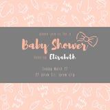behandla som ett barn text för duschen för bakgrundskaninkortet gullig blom- stock illustrationer