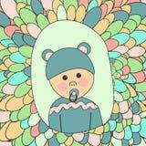 behandla som ett barn text för duschen för bakgrundskaninkortet gullig blom- Liten gullig pojke i hatt med öron och fredsmäklaren Arkivfoton