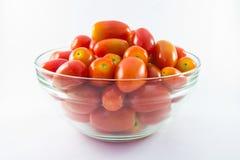 Behandla som ett barn tomater i den glass bunken royaltyfri bild