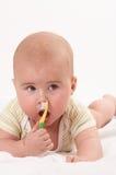 behandla som ett barn toothbrooshing7 Arkivbilder