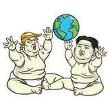 Behandla som ett barn trumf- och Kim Jong-FN som spelar jordklotet tecknad filmcommandertryckspruta hans illustrationsoldatstopwa vektor illustrationer