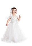 behandla som ett barn white för klänningflickabröllop Royaltyfri Foto