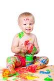 behandla som ett barn white för pojkegouachemålningen Royaltyfri Foto
