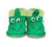 Behandla som ett barn woolen sockor Fotografering för Bildbyråer