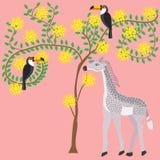 Behandla som ett barngiraffet är bredvid trädet av akaciablomningar, fågeln Royaltyfri Fotografi