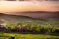 behandlad plats skjuten solnedgång för exponeringshdr long Arkivbild