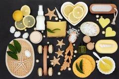 Behandling för citronSkincare skönhet arkivbild