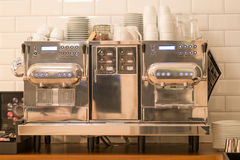 behandling för förberedelse för foto för maskin för kaffeespressoexponering lång Fotografering för Bildbyråer