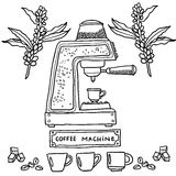 behandling för förberedelse för foto för maskin för kaffeespressoexponering lång illustratören för illustrationen för handen för  Fotografering för Bildbyråer