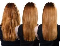 Behandling för hår före och efter arkivfoton