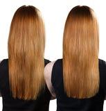 Behandling för hår före och efter royaltyfri fotografi