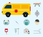 Behandling för person med paramedicinsk utbildning för service för preventivpiller för apotek för vård- nöd- sjukhus för medicin  vektor illustrationer