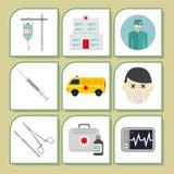 Behandling för person med paramedicinsk utbildning för service för preventivpiller för apotek för vård- nöd- sjukhus för medicin  stock illustrationer