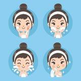 Behandling och ren ansikts- liten flicka vektor illustrationer