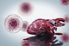 Behandlingar för hjärtsjukdom och för hälsa för mänskligt hjärta och DNAbegrepp royaltyfri illustrationer