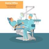 Behandlung für eine Zahnarztfarbillustration für Netz und bewegliches Design Stockbild