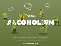 Behandlungsalkoholismusfahne mit betrunkenem Alkoholiker vektor abbildung