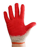 Behandschuhte Hand befleckt im roten Lack lizenzfreie stockfotografie