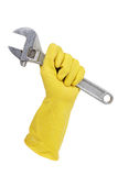 Behandschuhte Hand, die einen Schlüssel anhält Stockbilder