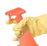 Behandschuhte Handholding-Triggerspray-Flasche stockbild