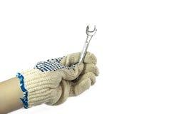 behandskad handholdingskiftnyckel Fotografering för Bildbyråer