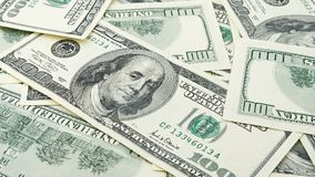 Behang achtergrondclose-up Amerikaans geld honderd dollarsrekening Vele het bankbiljet van de V.S. 100 Stock Afbeeldingen