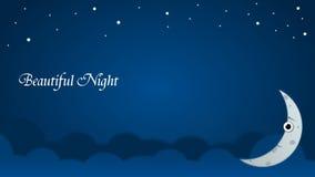 Behang Achtergrondnacht boven hemel met alleen maan en strars royalty-vrije stock afbeeldingen