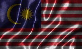 Behang door de vlag van Maleisië en golvende vlag door stof Royalty-vrije Stock Fotografie