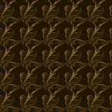 Behang gouden bladeren op een zwarte achtergrond met verticale golven stock illustratie