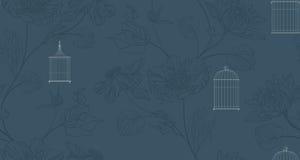 Behang met birdcage en bloemen Stock Fotografie