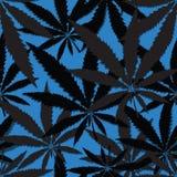 Behang met bladeren van cannabis stock illustratie