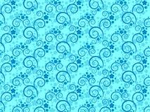 Behang met bloemen en spiralen Stock Foto