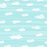 Behang met een eenvoudig patroon van de wolken Witte wolken in de blauwe hemel Behang met wolken voor de ruimte van een kind stock illustratie