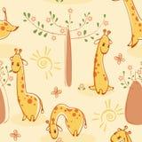 Behang met giraffen Stock Fotografie