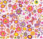 Behang met grappige bloemen Stock Afbeelding