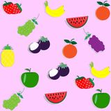 Behang naadloos patroon met fruit - vectorillustratie Royalty-vrije Stock Foto