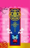 Behang van de beeldverhaal het Chinese kat Royalty-vrije Stock Foto