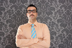 Behang van het portret retro glazen van de zakenman nerd Stock Afbeeldingen