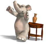 Behave like a bull in a china shop. A funny toon elephant tipps the china. With Clipping Path over white royalty free illustration