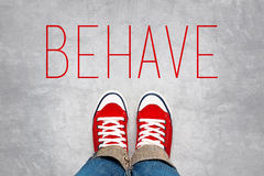 Behave Reminder for Young Person, Top View Stock Photos
