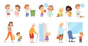 Free Behaving Kids. Childrens With Good Manners Helping To Adult And Otherness Helpful Respect Vector Characters Royalty Free Stock Photo - 184981365