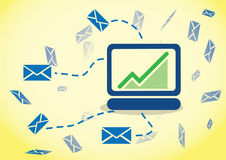 Behavior Email Tracking. Your customers online and monitoring it online on the computer tracking stock illustration