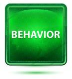 Behavior Neon Light Green Square Button. Behavior Isolated on Neon Light Green Square Button stock illustration