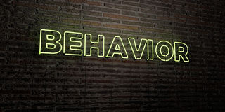 BEHAVIOR -Realistic Neon Sign on Brick Wall background - 3D rendered royalty free stock image. Can be used for online banner ads and direct mailers vector illustration